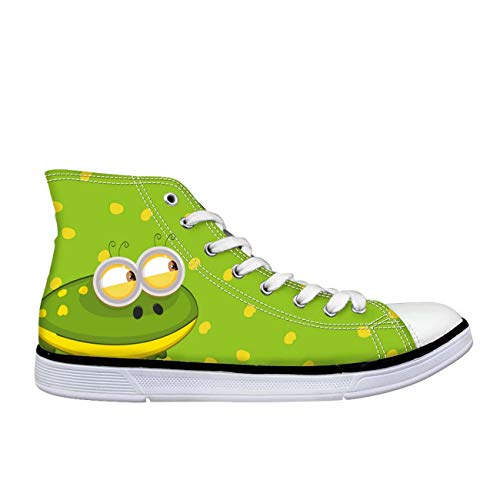 Lovely Cartoon Animal Hi Top Canvas Trainers Shoes Flat Lace Up Plimsolls Pumps Green UK 6 Cushe Cushe Slipper