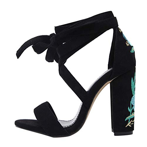 Beaulies Strap Heel Sandals for Womens Ankle Strap Block Heel Sandals Ladies Strappy Buckle Prom Shoes Mid Heel Multi Strap Wedding Party Evening Wrap Lace Up Strappy Sandal Green (35) Strappy Ankle Wrap Sandal