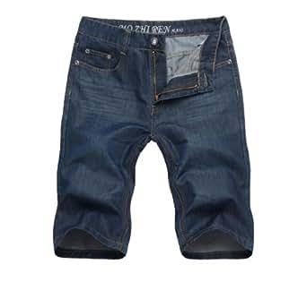 Jean shorts Homme slim fit Jeans short Court,Bleu Fonce,W30