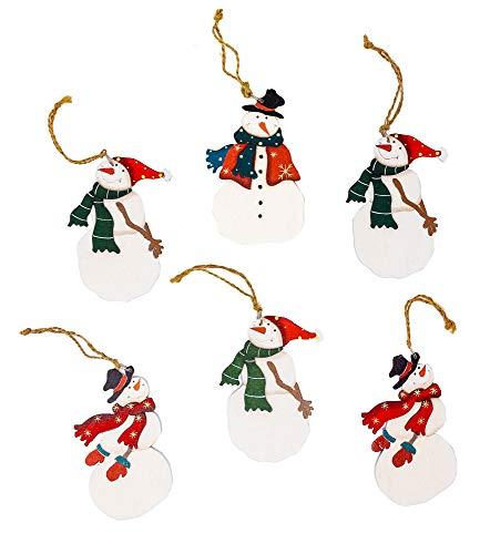 Harbor 55 Weihnachtlicher Schneemann Ornamente Set 6 Stück Holz bemalt mit Einem roten oder grünen Schal Jute Aufhänger Geschenkanhänger (Bemalte Schals)