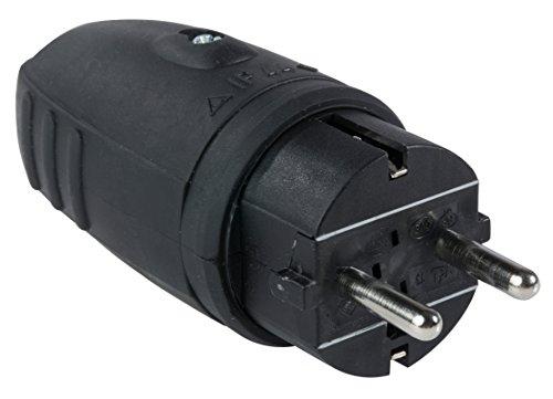 as - Schwabe 60410 Schuko Gummi-Stecker, schwarz, doppelter Schutzkontakt, IP44
