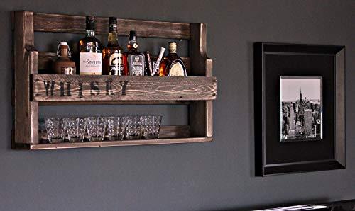 dekorie67 Whisky Regal Holz mit Whisky Glas Halter und Schriftzug-fertig montiert Palisander Industrie STYL