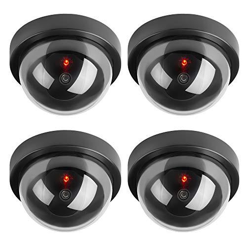 TOROTON 4 Stücke Runden Dummy Kamera CCTV Überwachung Kamera Sicherheitskamera mit Blinkender LED Licht - Schwarz - Runde 4 Licht