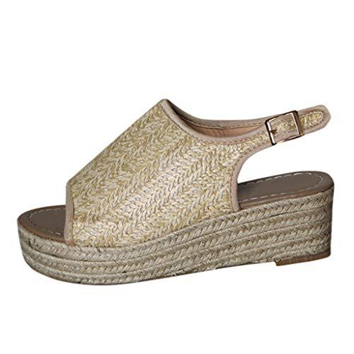 TIFIY Sandalen Damen, Espadrilles Open Toe Knöchelriemen Strandschuhe Casual römische Schuhe(Beige,EU 38) - Open-toe Espadrilles
