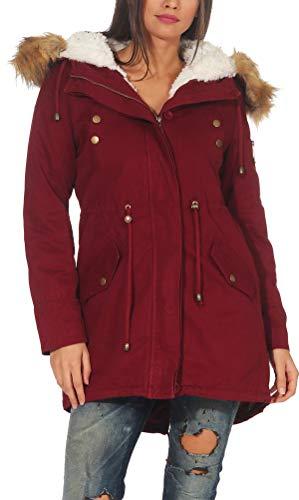 Malito Damen Parka mit Kapuze | Winterjacke mit Kunstfell | gefütterter Mantel | Jackett - Trenchcoat 81099