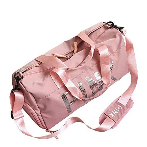 FEDUAN Training-Tasche Fitness-Tasche Gym-Tasche Sport-Tasche Reise-Tasche Yogatasche Handgepäck Schwimmtasche Schuhfach Nassfach (M2 Rosa)