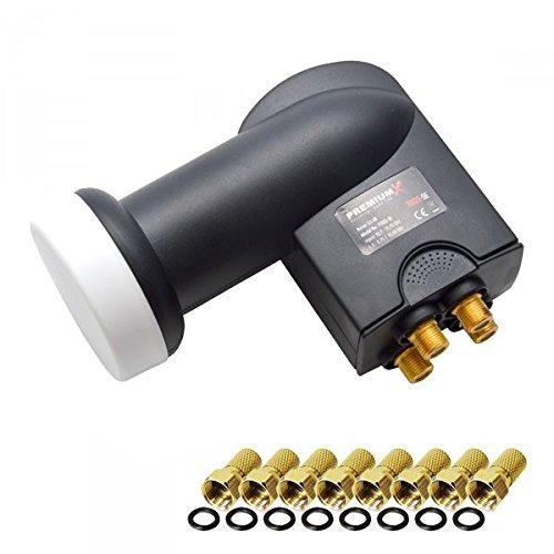 LNB Quad 0,1 dB PremiumX PXQS-04 Quattro Switch mit vergoldeten Anschlüsse zum Direktanschluss von 4 Teilnehmern Digital HDTV FullHD 3D tauglich + 8 F-Stecker 7mm in Gold-Farbe mit Dichtring GRATIS DAZU
