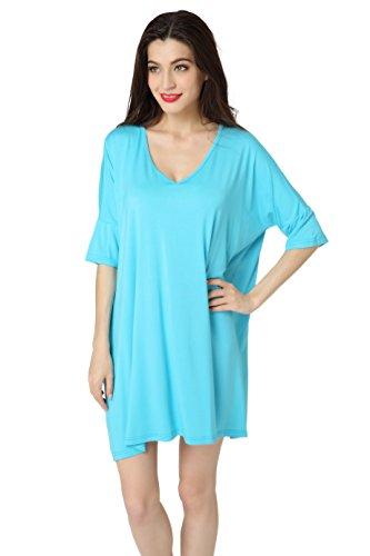 Aibrou Damen Nachthemd Nachtwäsche Negligee Nachtkleid Kurz Modal Umstandskleid Stillnachthemd Sleepshirt Blau