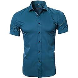 Camiseta Bambú Fibra Hombre, Manga Corta, Slim Fit, Camiseta Elástica Casual/Formal para Hombre, Turquesa Oscura, 42 (Hombro 48CM, Pecho 112CM)