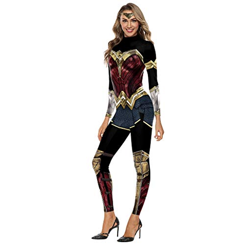 QWEASZER Herren Superman Kostüm Wonder Woman Kostüm Cosplay Overall Outfit Halloween Weihnachten Maskerade Prom Party Kostüm,A-S (Anime Wonder Woman Kostüm)