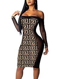 43b202c24 Mujeres Cuello Barco Manga Larga Vestido Moda Impresión Tul Costura por la  Rodilla Vestido Bodycon Vestidos