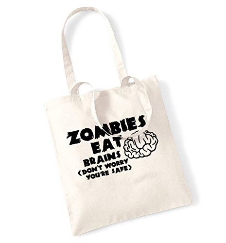 Zombies eat brains (don't worry you're safe) tote -