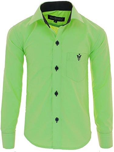 A7vDa Kinder Party Hemd Freizeit Hemd bügelleicht Lange Arm mit 10 Farben Gr.86Bis158 (86/92, Apfelgrün)
