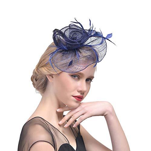 HFJ&YIE&H Faszinatoren Hut Frau Blume Mesh Bänder Federn Hut Stirnband oder EIN Clip Cocktail-Tee Party Kopfbedeckungen für Mädchen,D