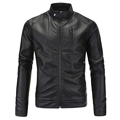 Giacca da moto in pelle giacca da motociclista cappotto uomo Nero M