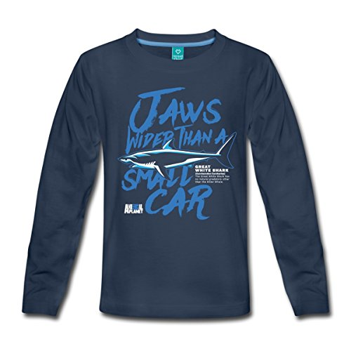Jungen Kiefer-t-shirt Für (Spreadshirt Animal Planet Weißer Hai Jaws Like A Car Kinder Premium Langarmshirt, 110/116 (4 Jahre), Navy)