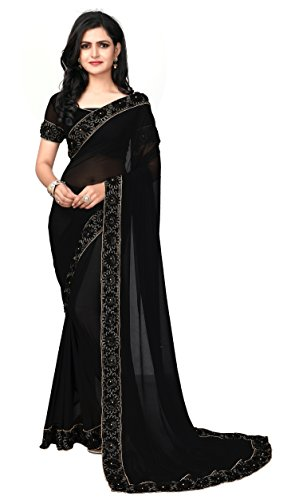 Fab Valley Black Color Georgette Fabric Ribbon Embroidery Work Designer Saree For...
