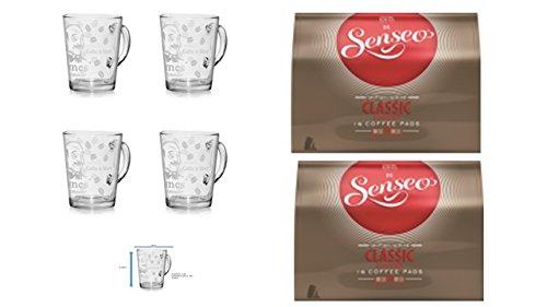 Senseo Kaffeepads 2er Pack + 4er Set Gläser mit Henkel 280ml ...