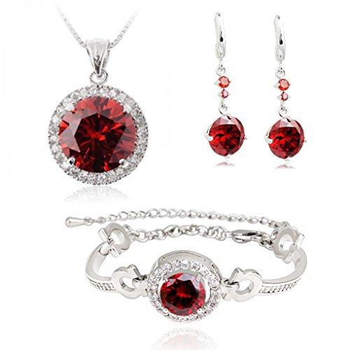 Rosso Cristalli austriaci di zirconi Rotondo Purare Collana con ciondolo 45 cm Orecchini Bracciale 18 kt placcato oro bianco per donne