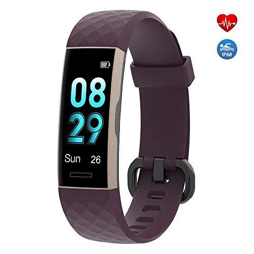 moreFit Fitness Tracker,Fitness Armband mit Pulsmesser IP68 Wasserdicht Sportuhr Aktivitätstracker Schlafmonitor Schrittzähler Uhr für Herren Damen mit Vibrationsalarm Anruf SMS Whatsapp (Lila)
