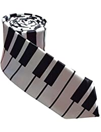 Unisex Mens Ladies Satin Skinny Tie One Size Love Piano Keys