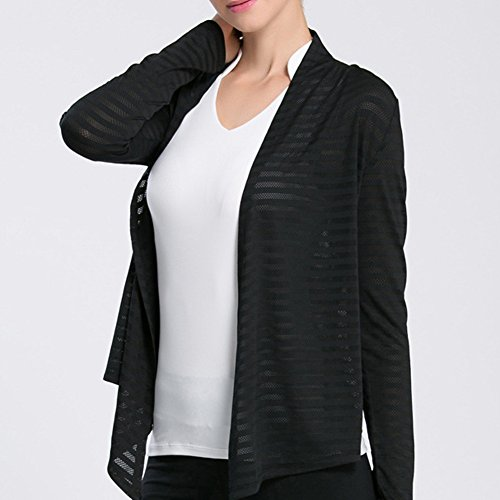 iBaste Mince t-shirt de yoga t-shirt de Gym Chemise Manches longues - Top Uni Femme Noir
