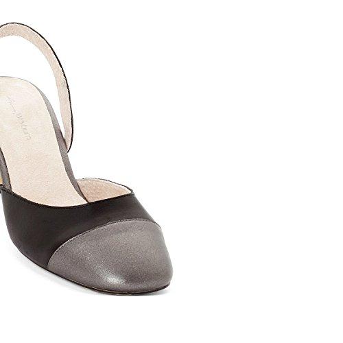 a687643e9d Chaussures pour femmes La Redoute Anne Weyburn Femme Cuir Decolete Bicolore  Noir / Argent ...