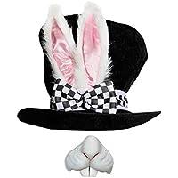 Adulto LUJO país de las maravillas conejo Sombrero Con Grandes Orejas y incluido lazo + Conejo Nariz Ideal Para Escuela CARNAVAL + CARNAVAL Accesorio para disfraz