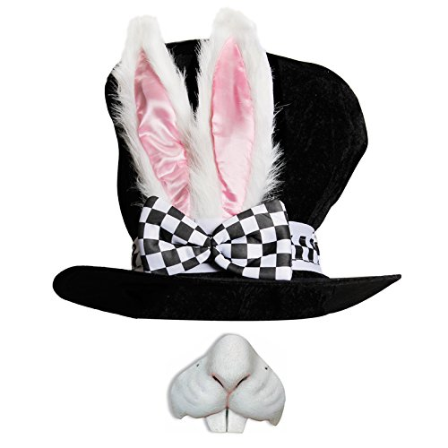Deluxe-Kostümhut für Erwachsene, Alice im Wunderland, Kaninchenhut mit den großen Ohren und Schleife + Kaninchen-Nase, ideal für Partys, Kostüm-Zubehör (Rabbit Kostüm White Wunderland)