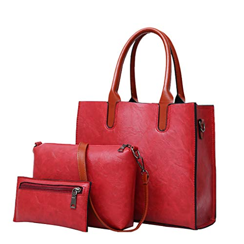 Toasye Mode 3Pcs Frauen Solid Color Vintage Leder Classic Handtaschen Schulter Crossbody Schulterdiagonale Umhängetasche -