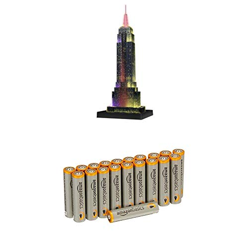 Ravensburger 12566 1 Empire State Building bei Nacht Night Edition 3D-Puzzle Bauwerke, 216 Teile mit AmazonBasics Batterien