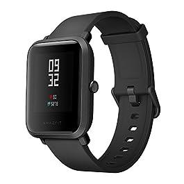 Amazfit Bip Smartwatch GPS Smart Watch Orologio Sportivo Cardiofrequenzimetro IP68 Impermeabile Fitness Tracker Barometro, App Italiano, Nero
