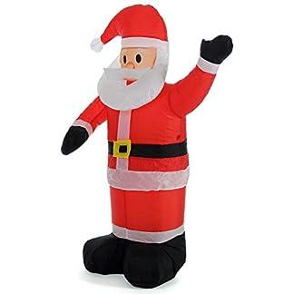 Bakaji – Papá Noel hinchable vertical – Se hincha automáticamente – Gran altura de 120 cm – Con iluminación LED y kit de fijación para exteriores – Protección IP44 – Adorno y decoración navideña
