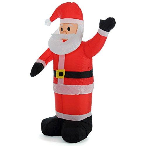 Bakaji babbo natale gonfiabile verticale autogonfiabile grande altezza 120 cm con illuminazione a led e kit fissaggio per esterno protezione ip44 addobbo e decorazione natalizia