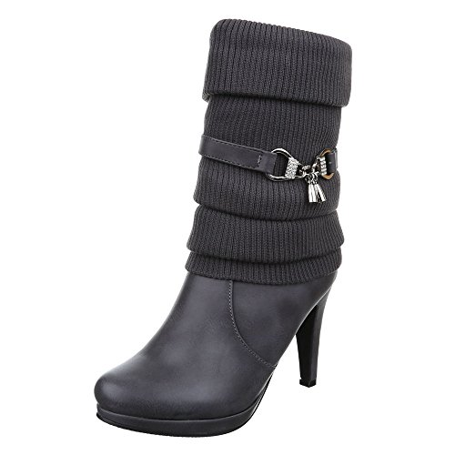 Ital-Design High Heel Stiefel Damen Schuhe Klassischer Stiefel Pfennig-/Stilettoabsatz High Heels Reißverschluss Stiefel Grau