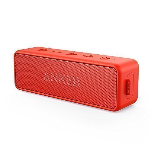 Anker SoundCore 2 Bluetooth Lautsprecher mit Dual-Treiber besserem Bass, 24 St. Spielzeit, 20 M Reichweite, IPX5 Wasserfest mit Eingebauten Mikrofon, Kabelloser Lautsprecher für iPhone, Samsung usw.(Rot)