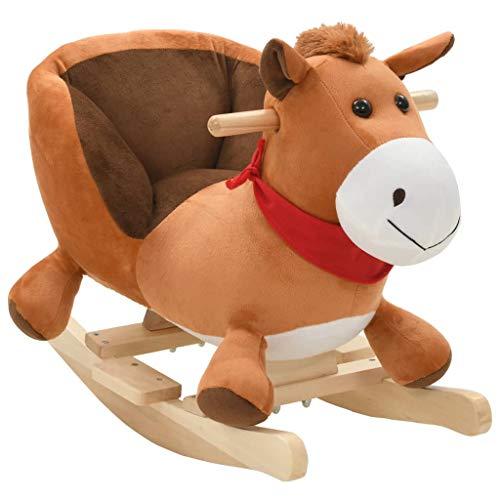 Festnight Schaukeltier Pferd | Kinder Schaukel Spielzeug | Schaukelspielzeug mit Rückenlehne | Braun Plüsch 60 x 32 x 50 cm