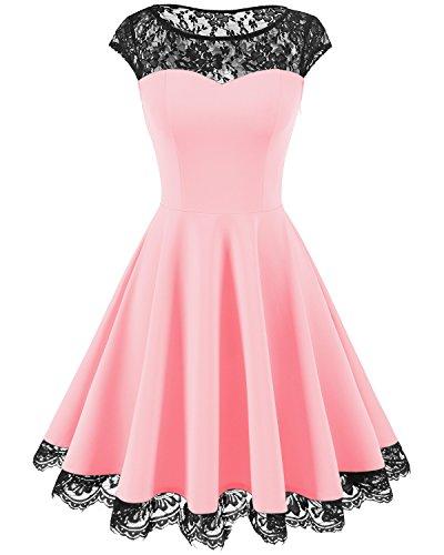 HomRain Damen 1950er Elegant Spitzenkleid Rundhals Knielang festlich Cocktail Abendkleid Light Pink 2XL