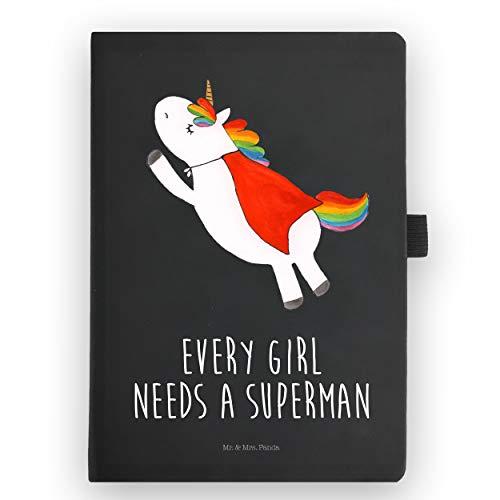 Mr. & Mrs. Panda Notizheft, Schreibbuch, DIN A5 Kunstleder Notizbuch Einhorn Superman mit Spruch - Farbe Transparent
