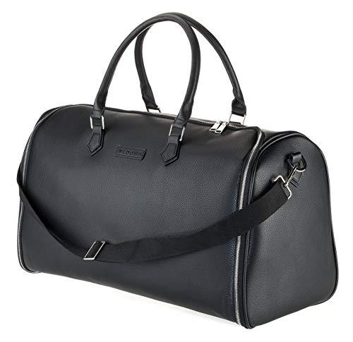 WLDOHO® 2in1 Anzugtasche Reisetasche für Business Reisen und Handgepäck I Kleidertasche für Anzüge mit Schuhfach, Inklusive Tragegurt und Kleidersack Anzughülle - Leder-reise-kleidersack