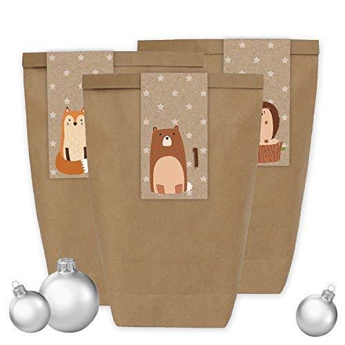 Papierdrachen Adventskalender Set - 24 braune Tüten mit 24 braunen Aufkleber Zahlen - zum Selbermachen - Adventskalender zum Befüllen - Mini Set Nr 34