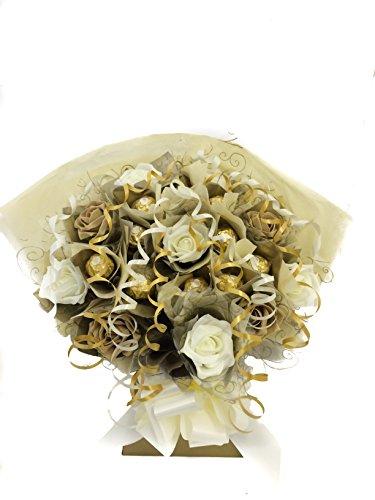 Ferrero Rocher-Bouquet di 10Fiori e cioccolato chocloates-Avorio, Oro, e Caramal