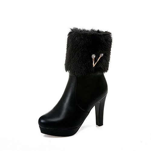 VogueZone009 Damen Ziehen auf Rund Zehe Niedrig-Spitze Stiefel mit Beschlagene Strass, Schwarz, 37
