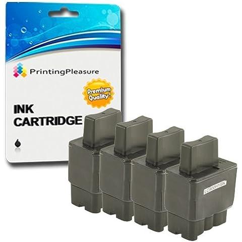 Printing Pleasure 4x LC900 Nero Cartucce d'inchiostro compatibili per Brother