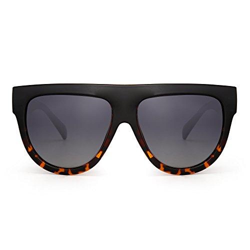 JIM HALO Flach Top Polarisiert Sonnenbrille Oversized Dick Katzenauge Platz Mode Brillen(Schwarz/Gradient Grau)