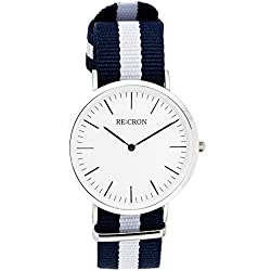 "RE:CRON women watch stainless steel 36 mm 1.42"" with textile wristband nylon maritime dark blue and white"