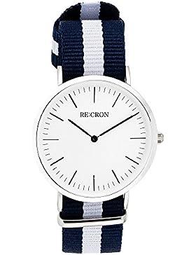RE:CRON Damen Armbanduhr Edelstahl 36 mm mit Textilarmband Nylon maritim dunkelblau und weiß