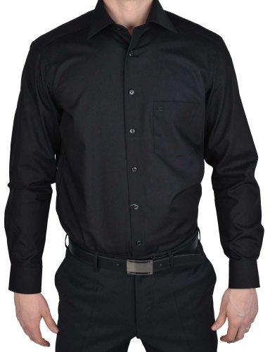Camicia Olymp Luxor Modern Fit - nero, extra lungo braccio 69 cm, colletto New Kent Nero