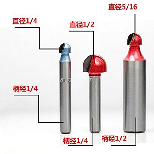 SHINA Hi Quality 1/4'' x 1/2'' Router CNC Engraving V Groove Round Bottom Bit Arc Cutter