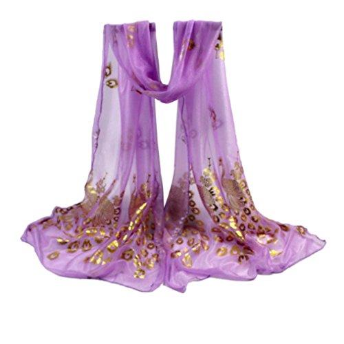 kimloog Frauen leicht groß Wickeltuch Pfau Design Blumen Lang Weich Schal Stola violett (Gerippte Poncho)